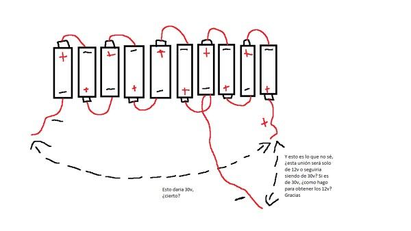 Sacar corriente de 12v de un conjunto de pilas