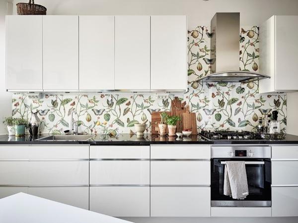 De qu material es el estampado flora del frontal de la - Papel vinilo para cocinas ...