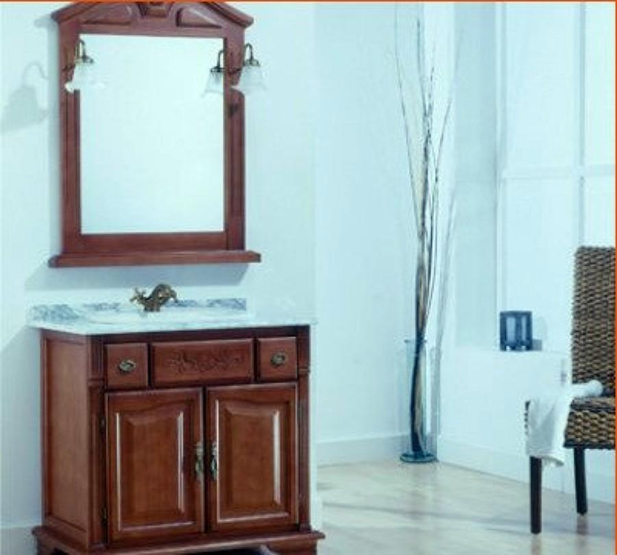 Mueble ba o rustico madera con encimera zaragoza for Muebles de bano de madera rusticos