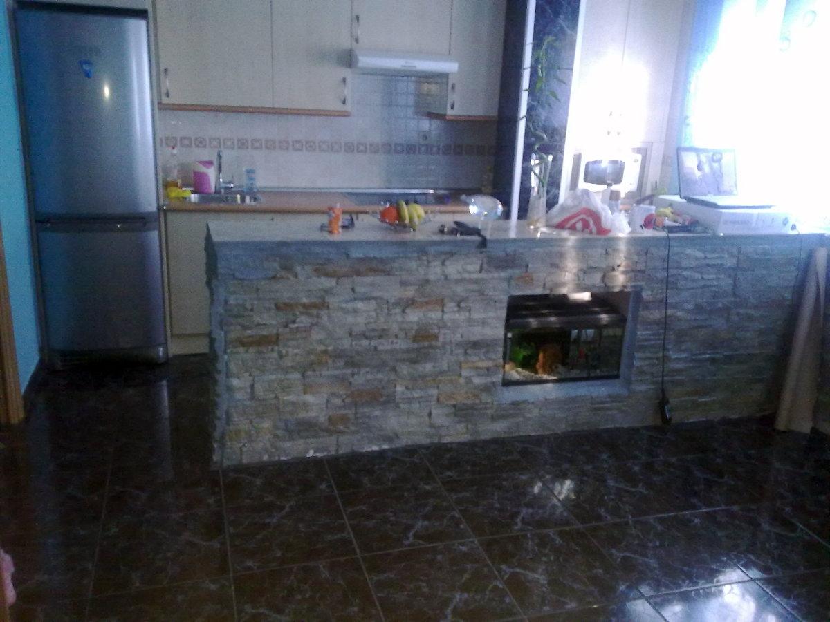 Instalar aqu rium en barra que separa cocina de sal n for Barra americana cocina salon
