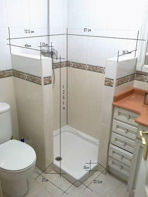 Baño General En Ducha:de 125 y unas medida de 72 5×87 en el interior de los muros