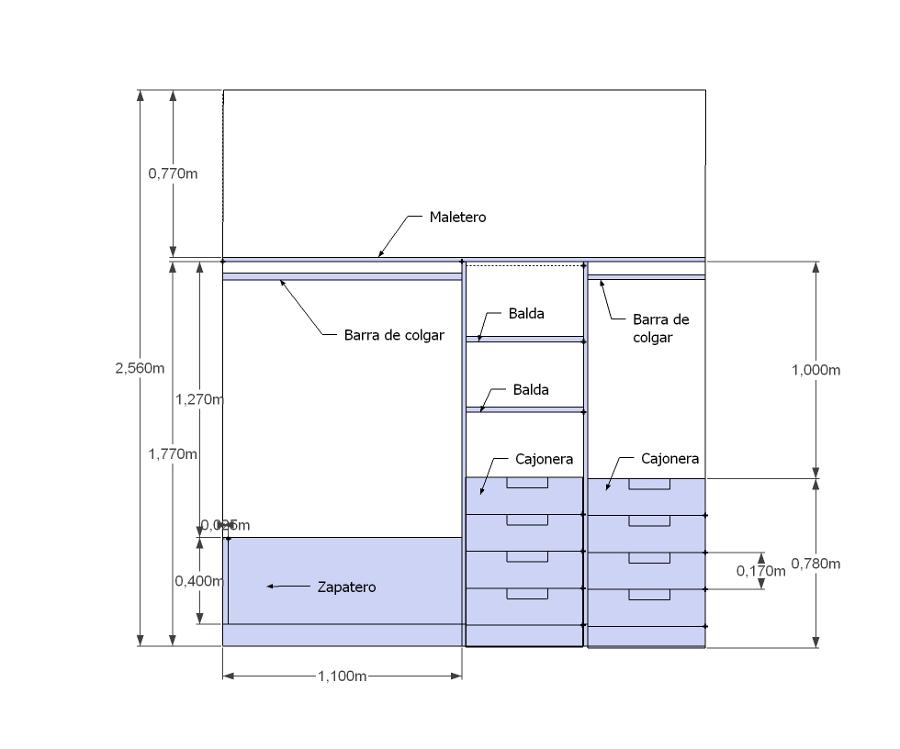 Interior de 3 armarios a medida madrid madrid - Medidas de armarios de cocina ...