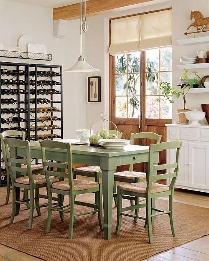Conjunto mesa y 4 sillas de madera verde estilo provenzal - Sillas estilo provenzal ...
