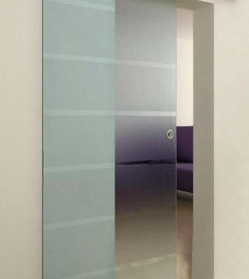 Puerta corredera de cristal con guia de acero inoxidable - Puertas correderas con cristal ...