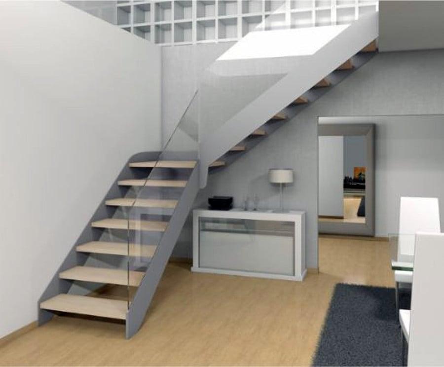 Escaleras metalicas con barandilla de cristal santiago for Escalera metalica plegable precio
