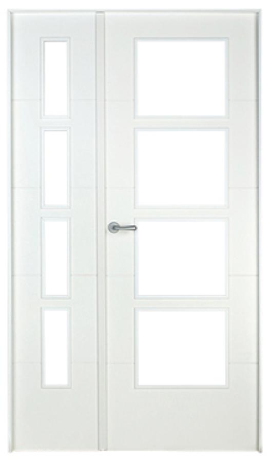 Suministro y colocaci n de puerta interior doble de color for Puertas de madera blancas con vidrio