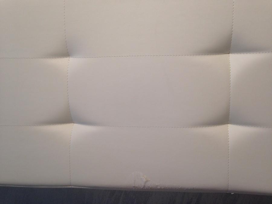 Tapizar cabecero de cama de 150cm en piel blanca - Tapizar un cabecero de cama ...