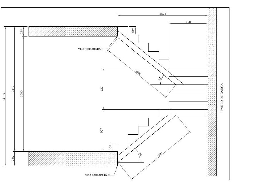 Estructura de hierro de escalera getafe madrid for Escalera de medidas