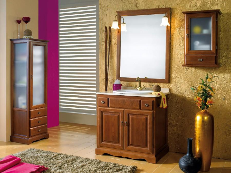Mueble ba o rustico madera con encimera zaragoza - Muebles de bano madera ...