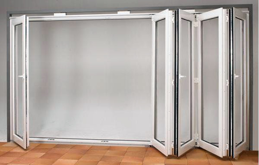 Puertas acordeon aluminio cristal o madera madrid - Puerta corredera plegable ...