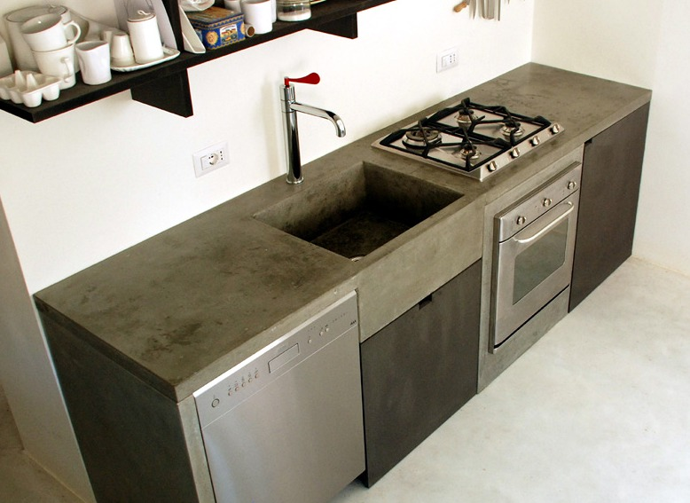 Cocinas de cemento pulido imagui for Forrar azulejos cocina
