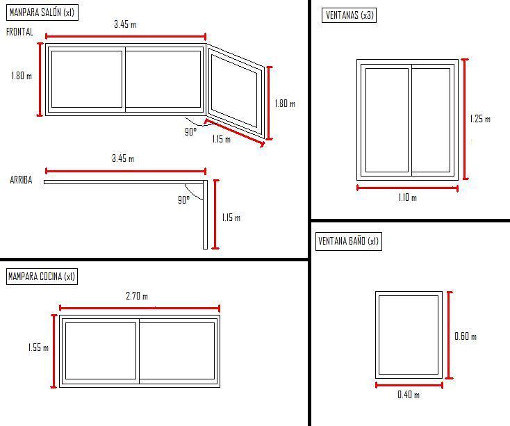 Carpinteria aluminio vivienda fuenlabrada madrid for Medidas estandar de ventanas argentina