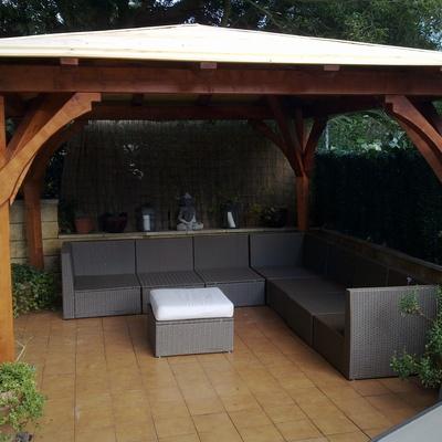 Colocaci n teja en p rgola de madera sodupe vizcaya for Tejados madera vizcaya