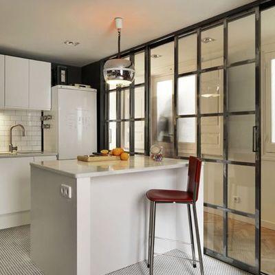 Puertas correderas hierro y vidrio separaci n cocina y for Separacion cocina salon
