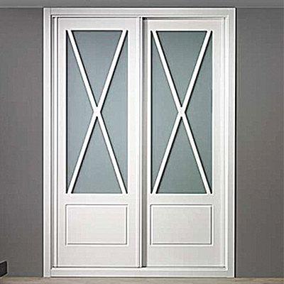 Armario puertas en aspa con cristal correderas color - Puertas correderas blancas ...
