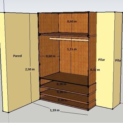 2 armarios empotrados a medida completos forro y puertas - Medidas de un armario ...