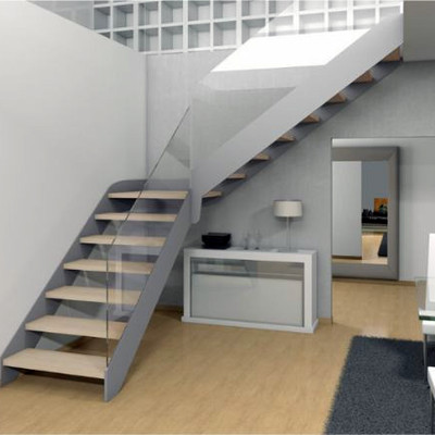 escalera tramos metalica madera cristal