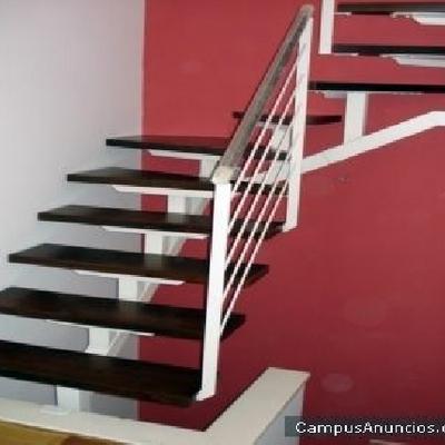 Escalera de hierro con pelda os de madera dos hermanas - Peldanos de madera para escalera ...