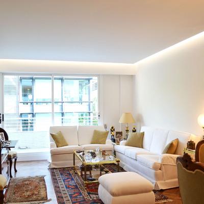 Falso techo pladur instalar barras y focos led pinto - Instalar lampara techo ...