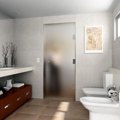 Puerta cristal templado abatible en el lavabo tarragona - Lavabos cristal templado ...