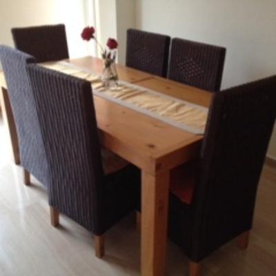 Pintar muebles madera en blanco y sillas mimbre - Pintar mueble madera en blanco ...