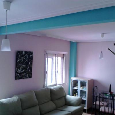 Pintar techo aseo y cocina y columnas sal n madrid for Pintar techo cocina