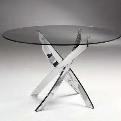 Presupuesto mesa comedor cristal redonda patas cromadas for Mesas de cocina redondas extensibles