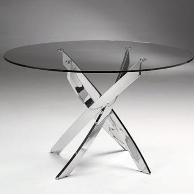 Presupuesto mesa comedor cristal redonda patas cromadas for Mesas redondas de cristal