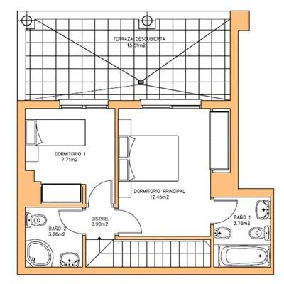 Reforma en terraza ganar espacio en dos habitaciones for Plano habitacion online