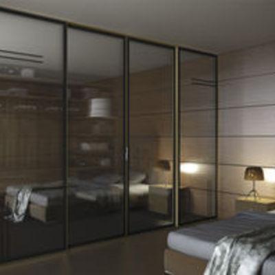 Puerta de paso corredera de cristal espejo para vestidor for Espejo para pegar en puerta