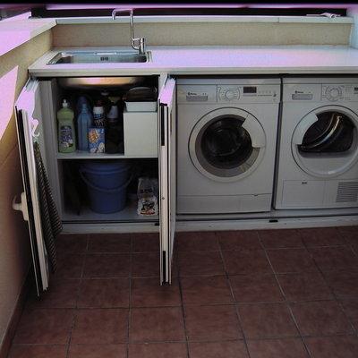 Armario pvc para instalacion lavadora en patio exterior for Mueble lavadora exterior