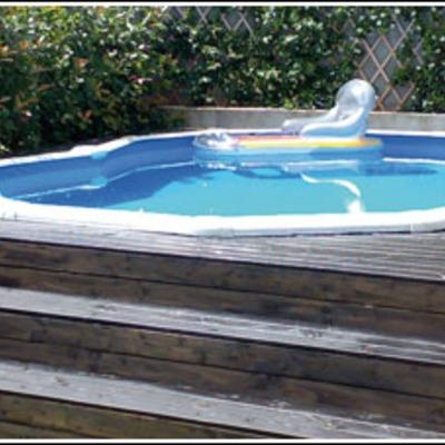Integrar una piscina desmontable en una base de madera for Base para piscina desmontable