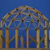 Estructura de madera,  cupula geodesica
