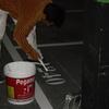 Borrar una linea de separacion de plazas de garaje y pintarla de nuevo desplazada 5 cmts