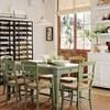 Conjunto mesa y 4 sillas de madera verde, estilo provenzal