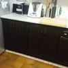 Lacar en blanco puertas de madera teñida de armarios cocina