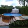 Construcción piscina madera semienterrada