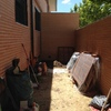 Solar patio con hormigon impreso y hacer casa de herramientas