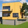 Proyecto casa de madera en la floresta