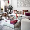 Mueble blanco bajo mesa cristal