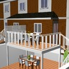 Porche con terraza superior, vallado y barandilla